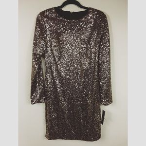 NWT Nordstrom's Maia gold sequin dress size 8